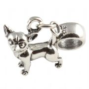 Chihuahua Dog 3D Sterling Silver Dangle Charm / Carrier Bead